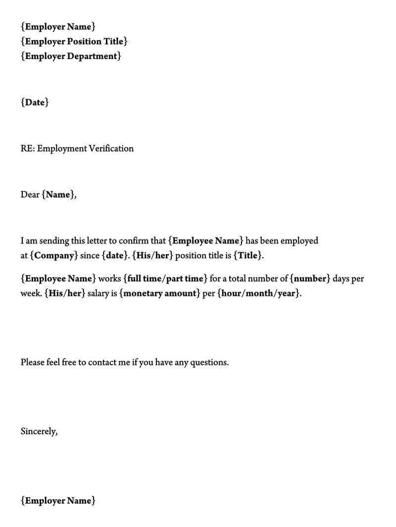Employment Verification Letter (40+ Sample Letters And With Employment Verification Letter Template Word
