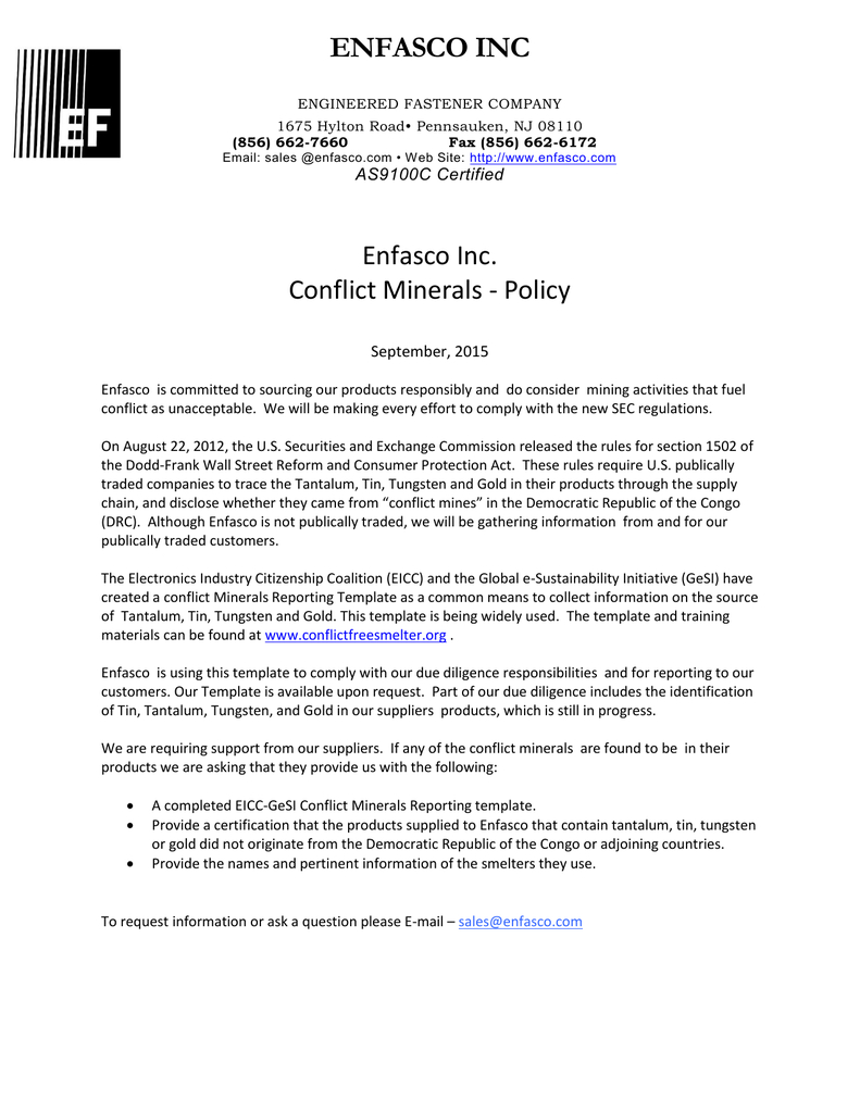 Enfasco Inc Enfasco Inc. Conflict Minerals - Policy Within Eicc Conflict Minerals Reporting Template
