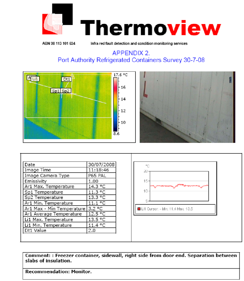 Example Of A Page Of The Report Containing The Thermographic With Thermal Imaging Report Template