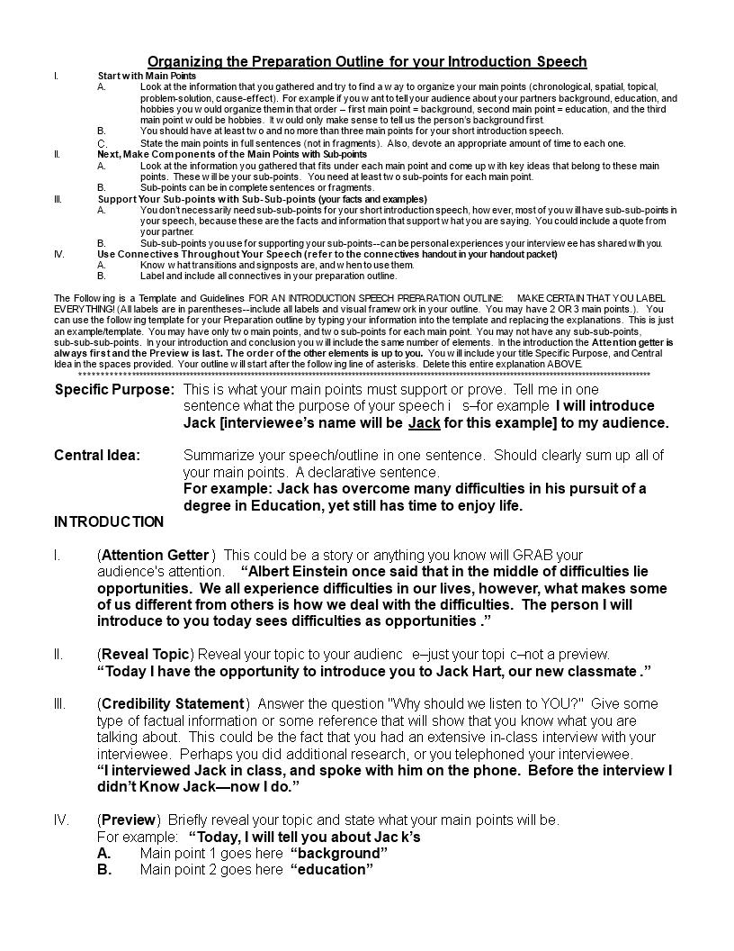 Example Speech Outline | Templates At Allbusinesstemplates With Speech Outline Template Word