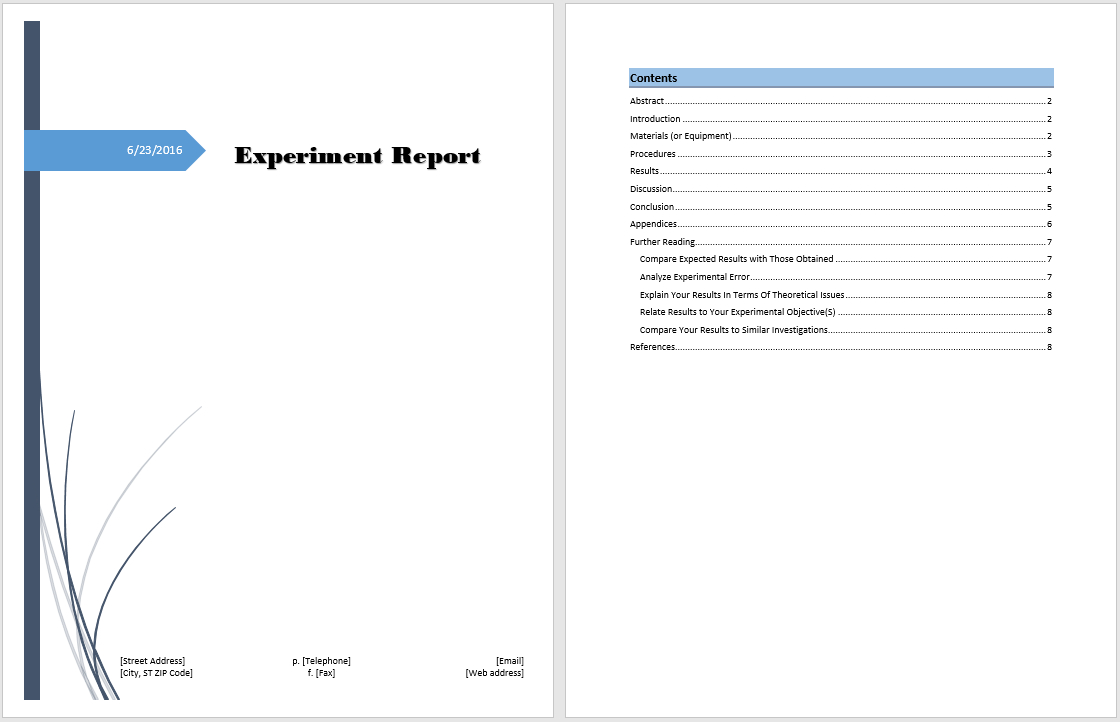 Experiment Report Template - Microsoft Word Templates Within Lab Report Template Word