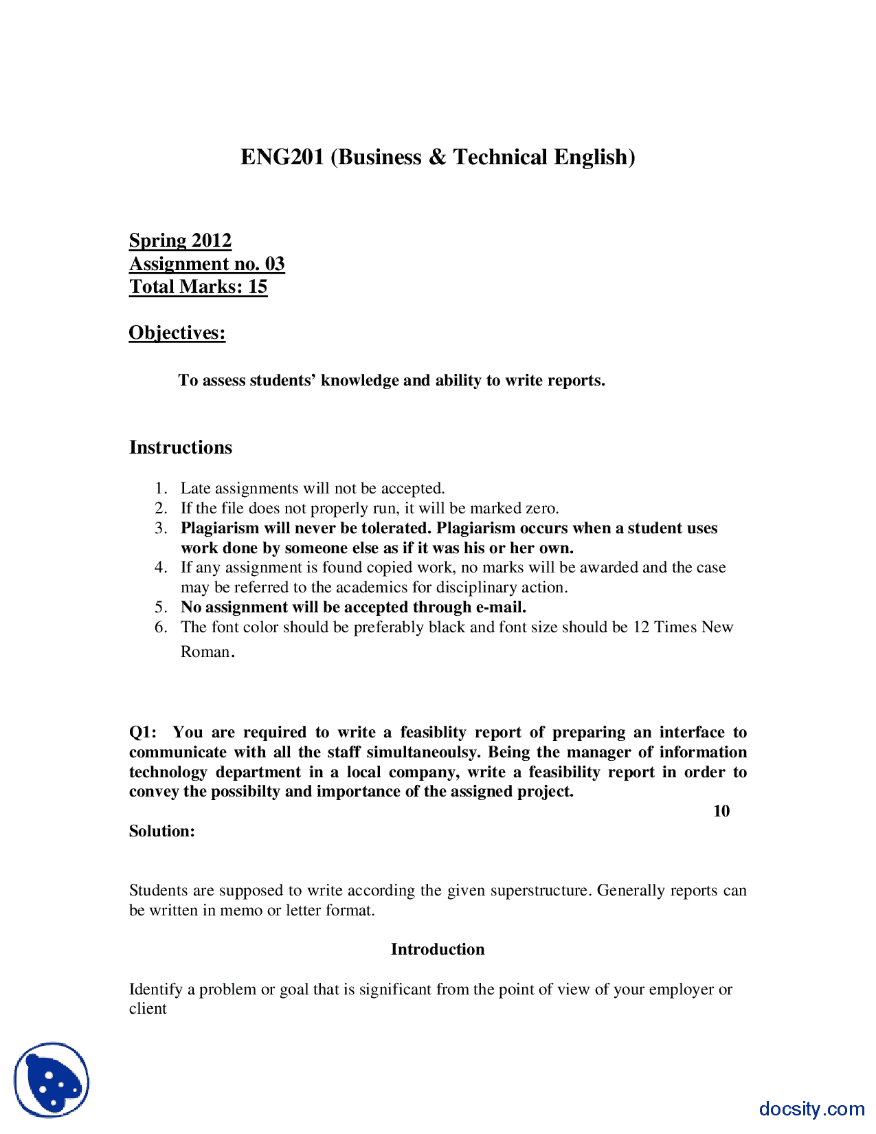 Feasibility Report Business Communication And English Pertaining To Technical Feasibility Report Template
