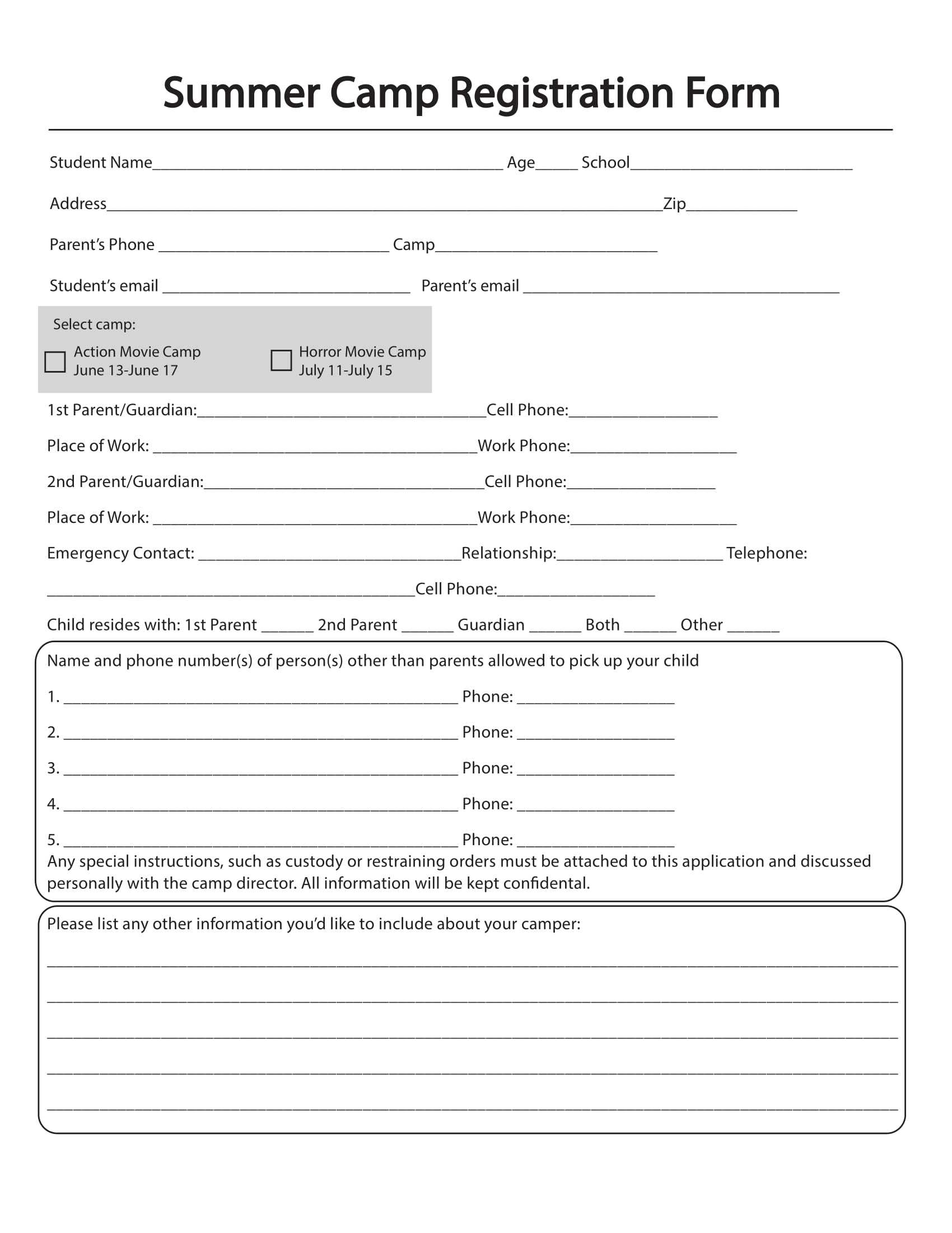 Free 10+ Printable Summer Camp Registration Forms In Pdf Throughout Camp Registration Form Template Word
