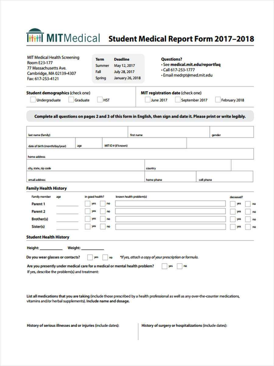 Free 7+ Medical Report Forms In Pdf In Medical Report Template Doc