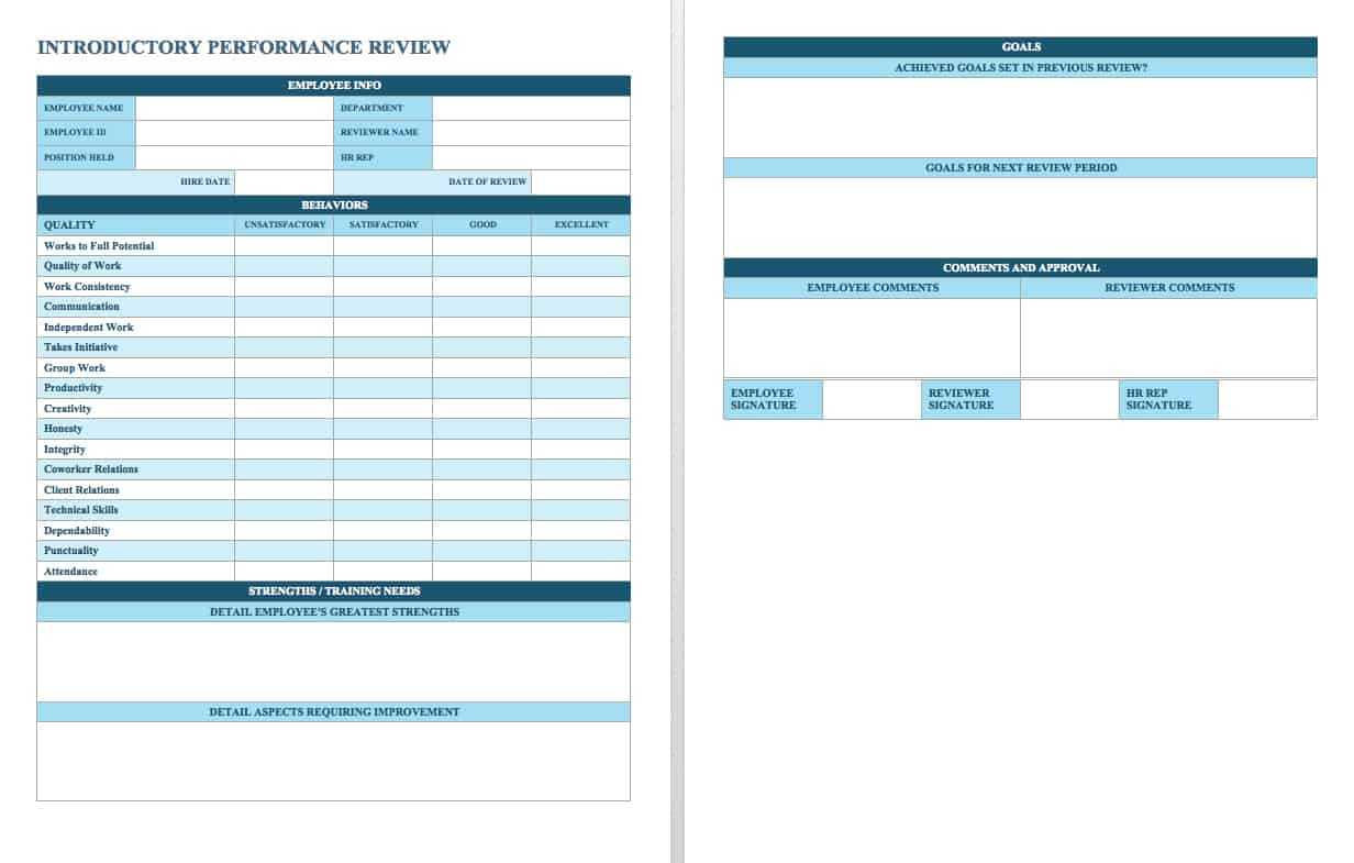 Free Employee Performance Review Templates   Smartsheet Intended For Annual Review Report Template