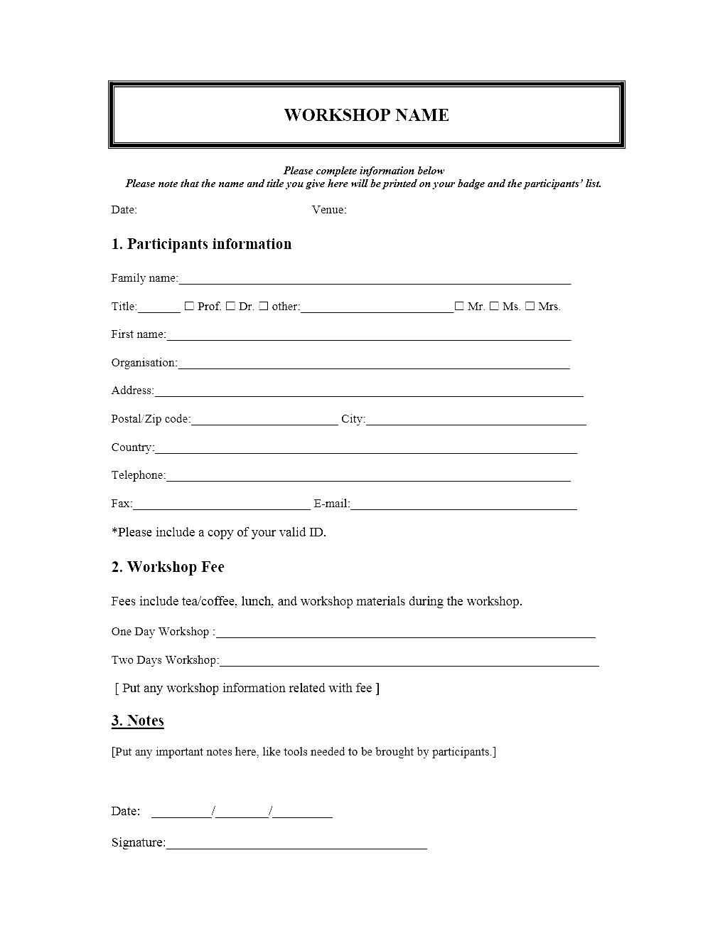 Free Event Registration Form Template Word Intended For Registration Form Template Word Free