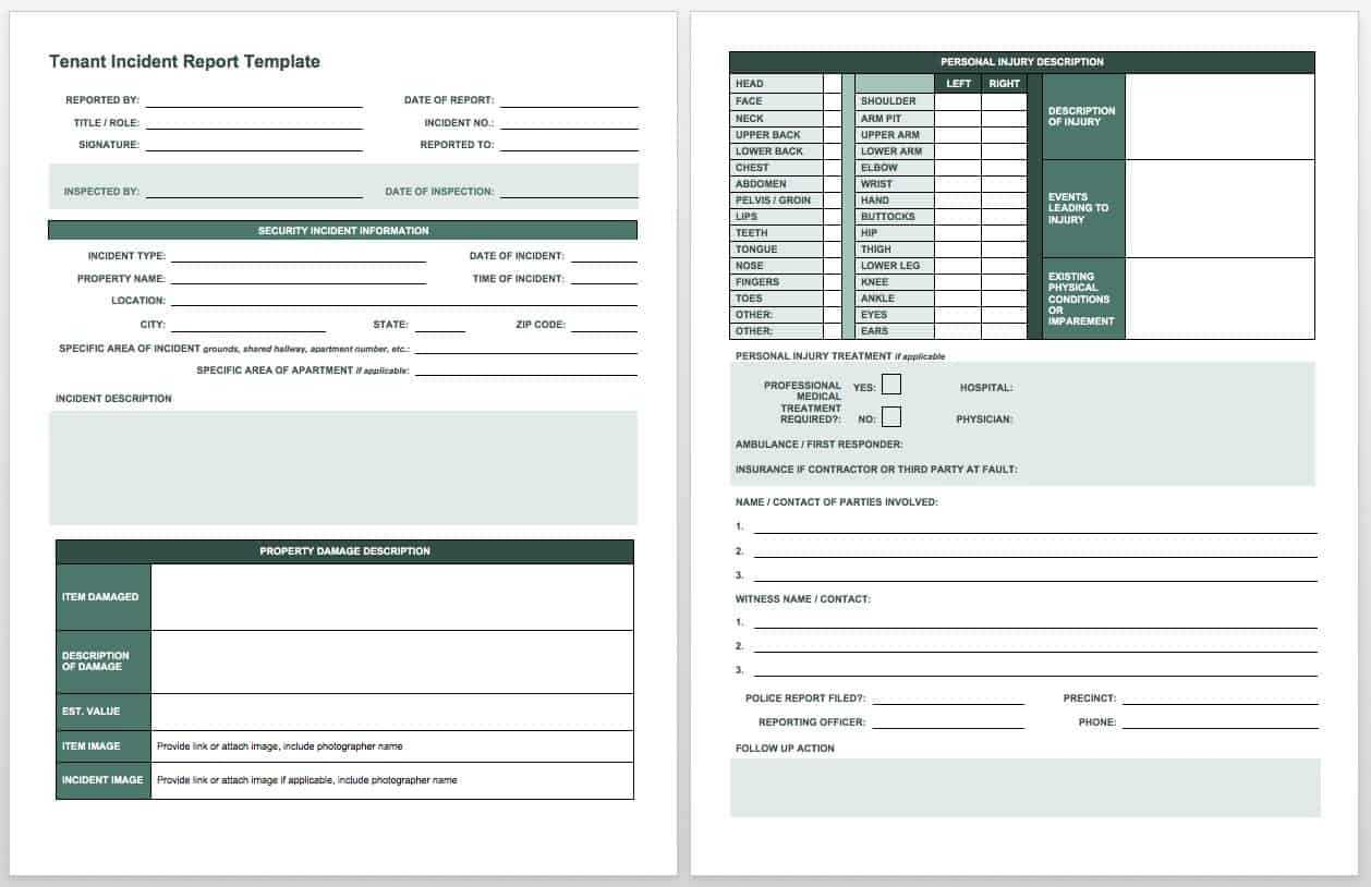 Free Incident Report Templates & Forms | Smartsheet Regarding Incident Report Log Template