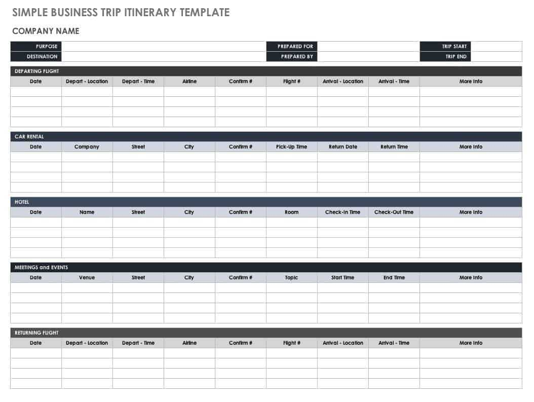 Free Itinerary Templates | Smartsheet With Regard To Blank Trip Itinerary Template