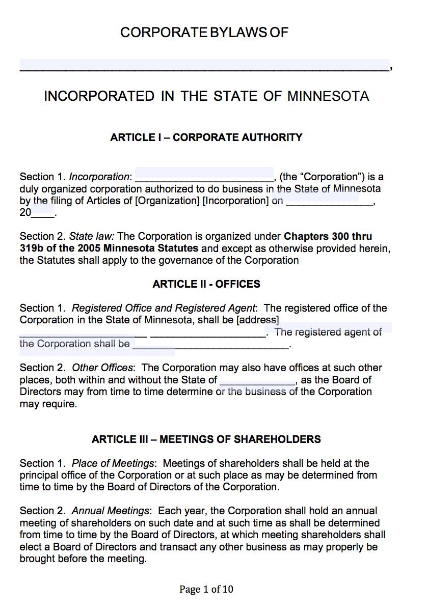 Free Minnesota Corporate Bylaws Template   Pdf   Word   Throughout Corporate Bylaws Template Word