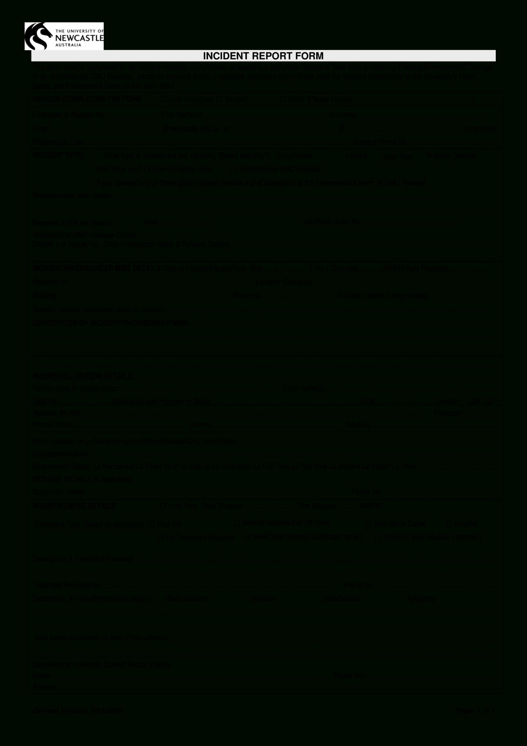 Hazard Incident Report Form | Templates At Regarding Hazard Incident Report Form Template