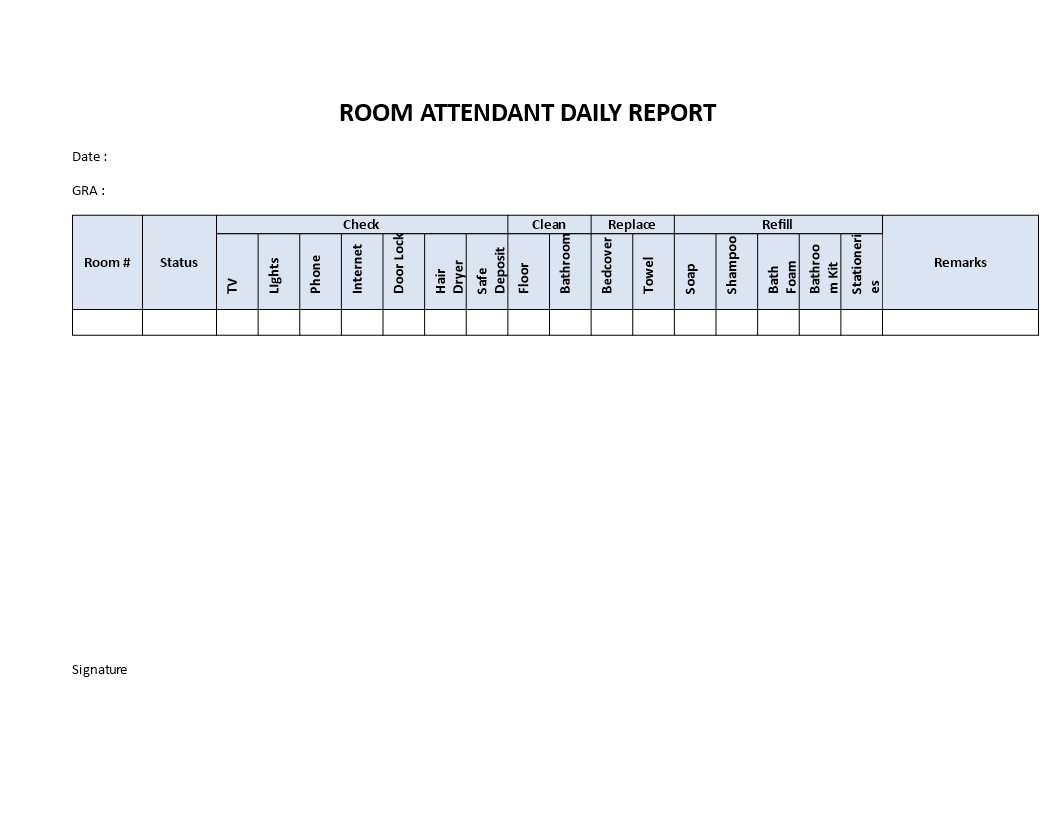 Hotel Room Attendant Daily Report | Templates At Regarding Check Out Report Template