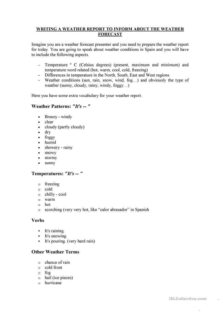 How To Write A Weather Report - English Esl Worksheets Pertaining To Kids Weather Report Template