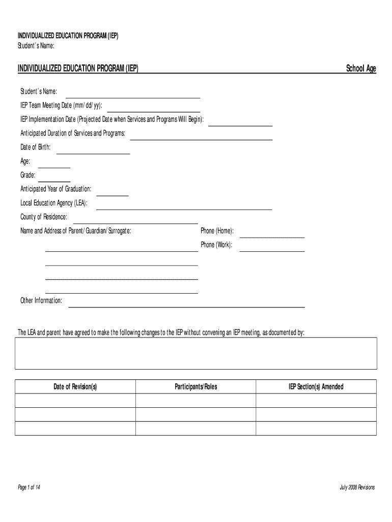 Iep Template - Fill Online, Printable, Fillable, Blank Regarding Blank Iep Template