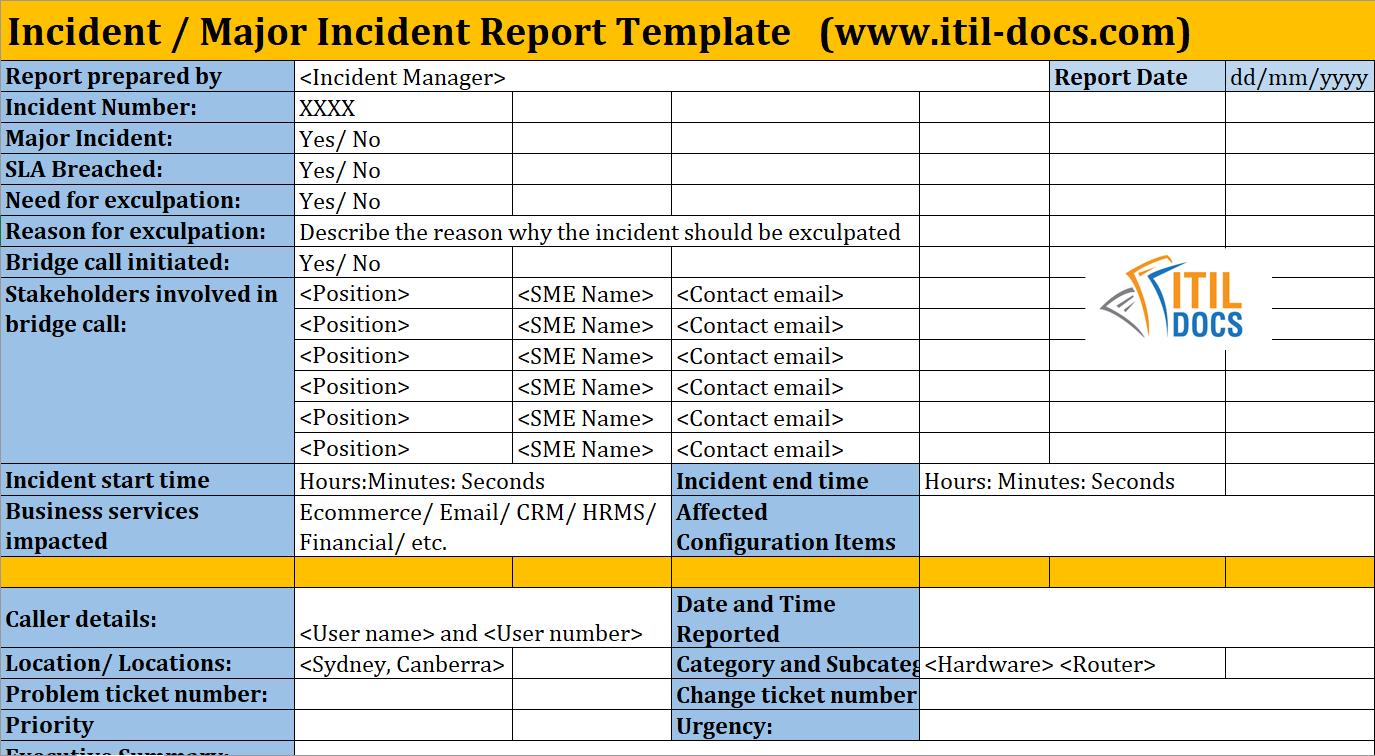 Incident Report Template   Major Incident Management – Itil Docs Inside Itil Incident Report Form Template