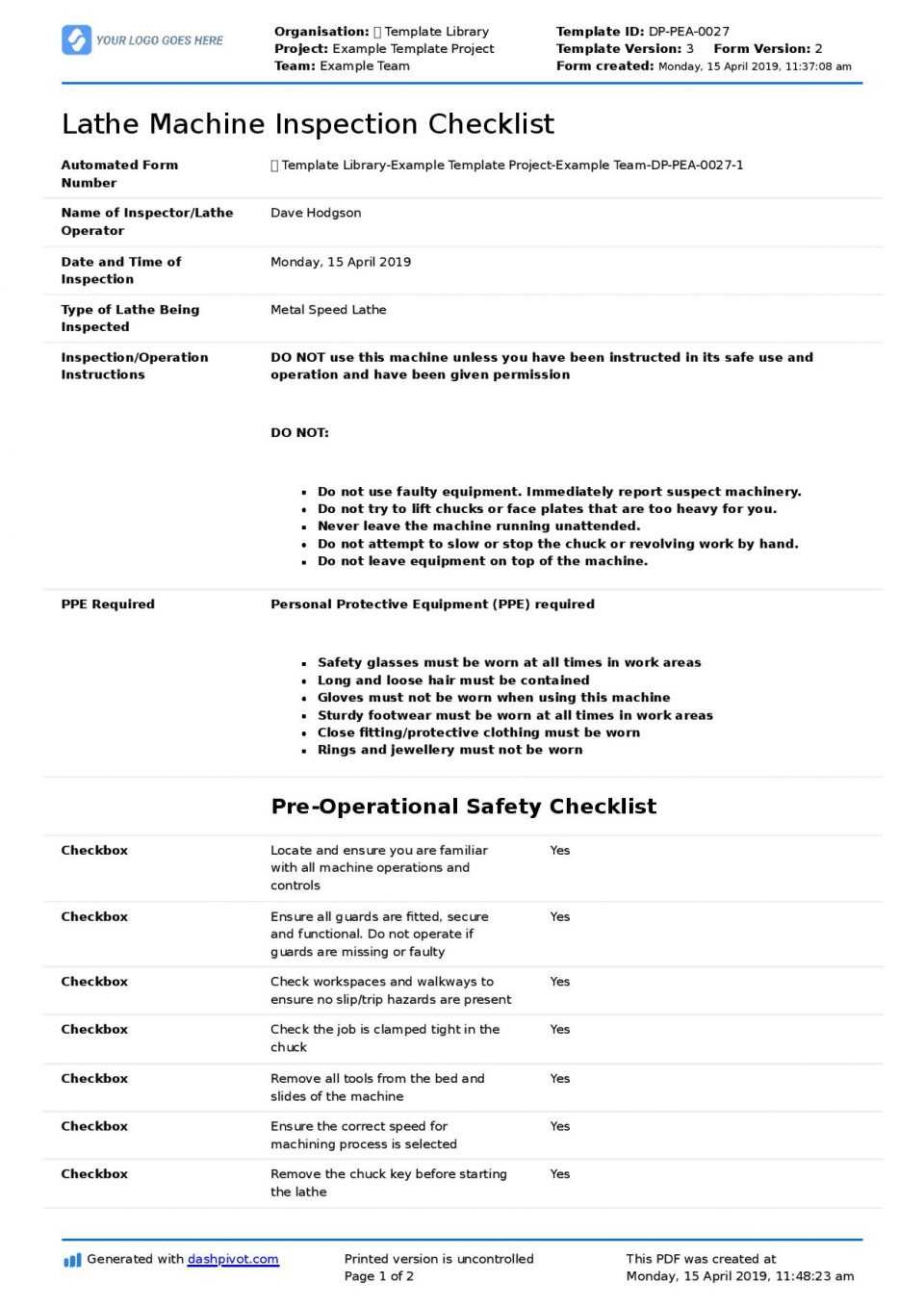 Inspection Spreadsheet Template Great Machine Shop Report Within Machine Shop Inspection Report Template