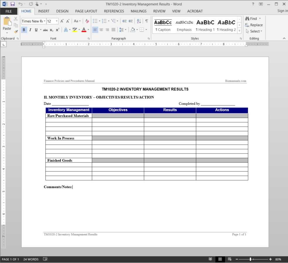 Inventory Management Report Template | Tm1020 2 In It Management Report Template