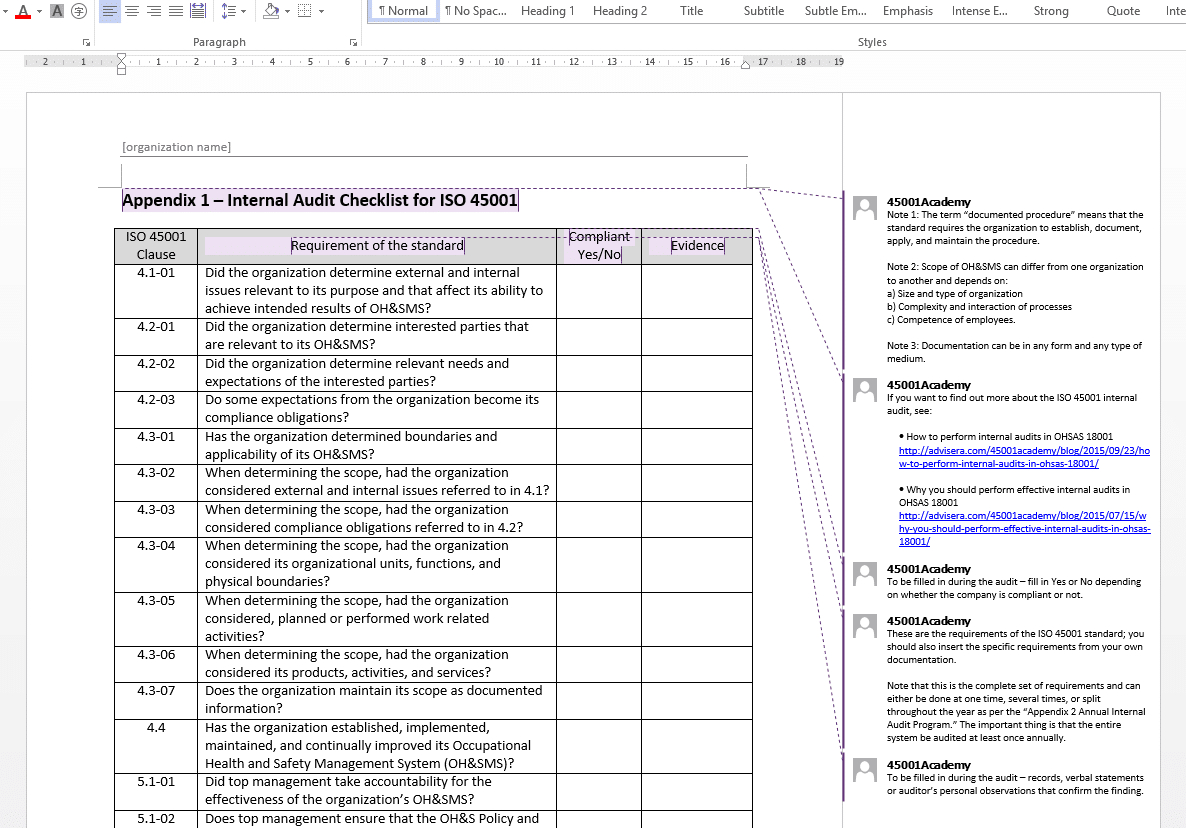 Iso 45001 Internal Audit Toolkit For Internal Audit Report Template Iso 9001