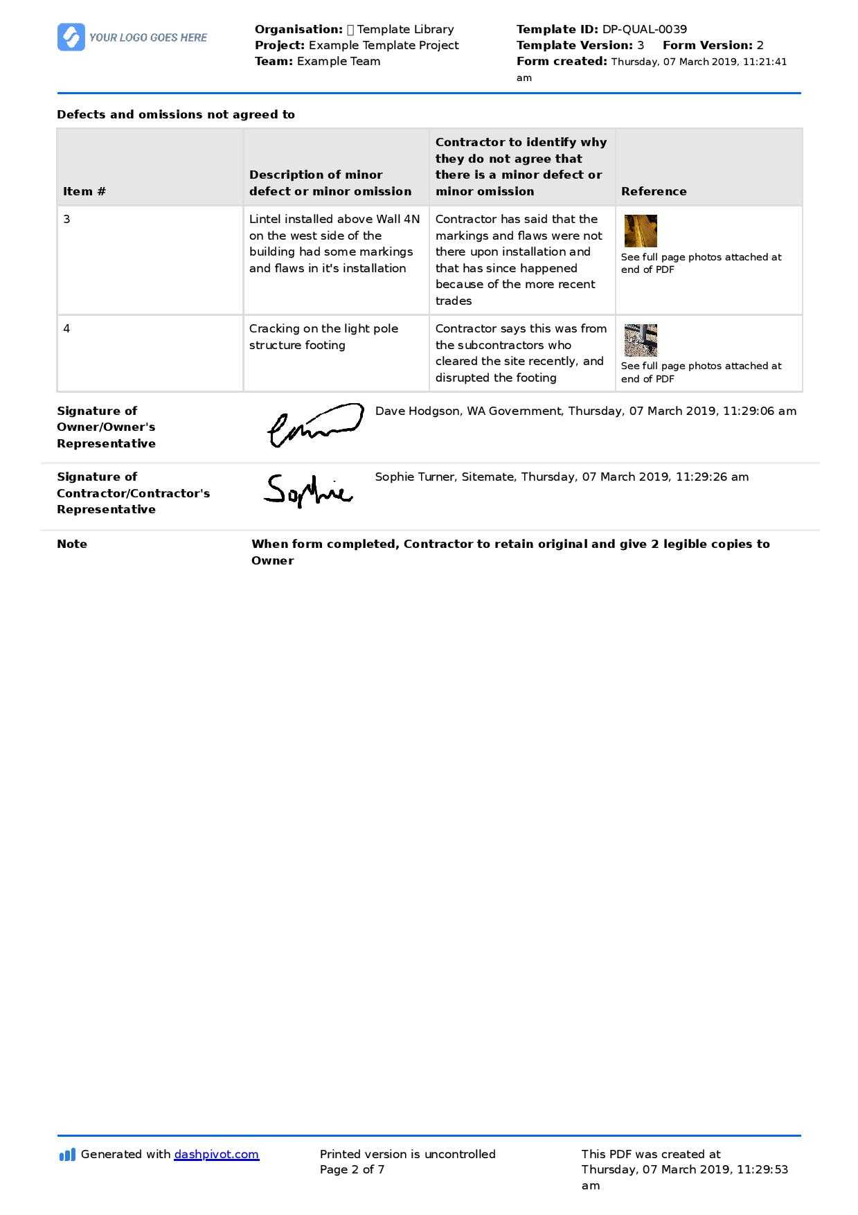Letter To Contractor For Defective Work: Sample Letter And Pertaining To Construction Deficiency Report Template