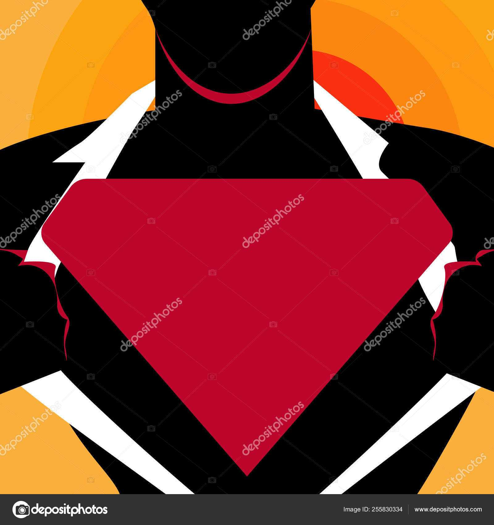 Man In Superman Pose Opening Shirt To Reveal Blank Within Blank Superman Logo Template