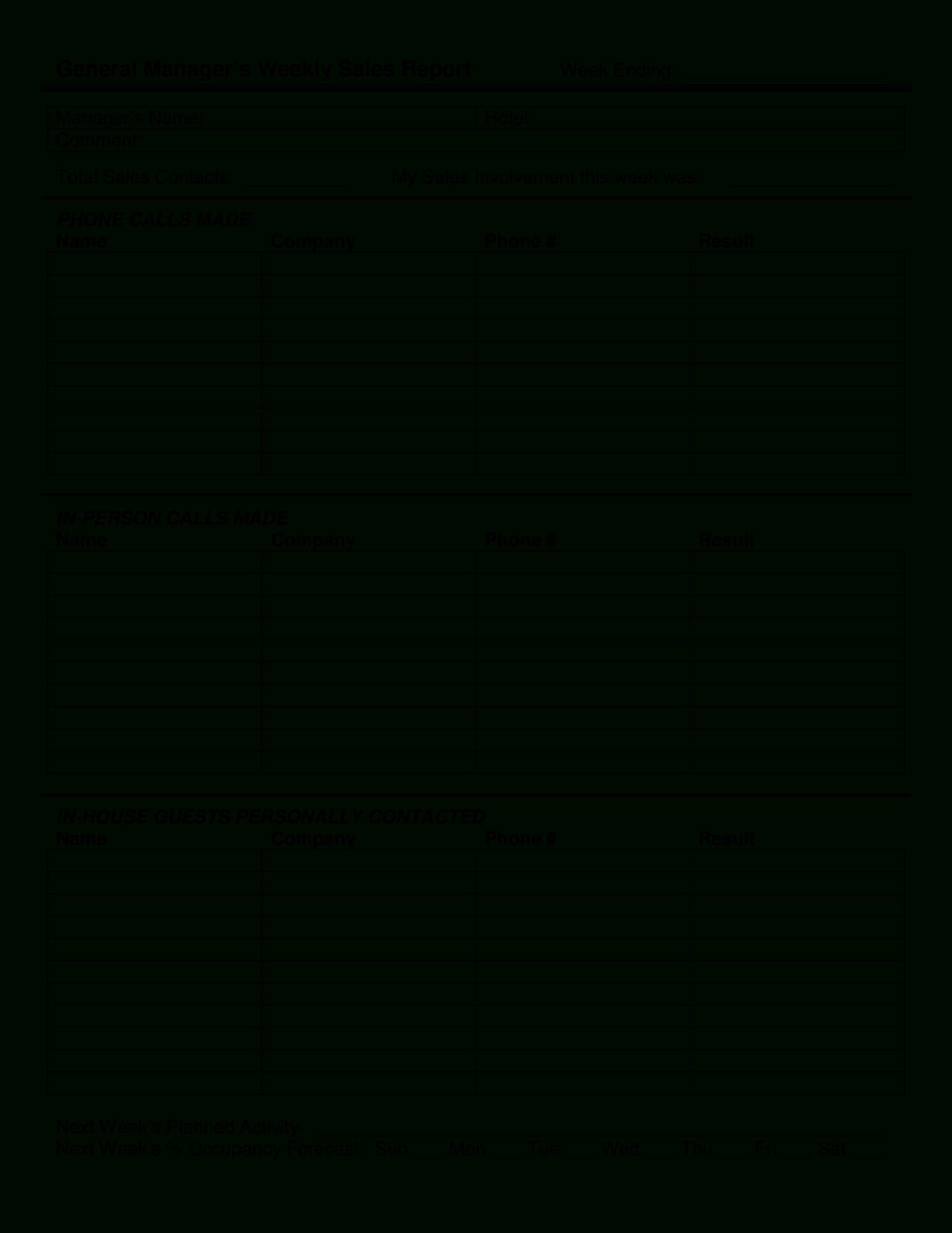 Manager Weekly Sales Report Template   Templates At With Weekly Manager Report Template