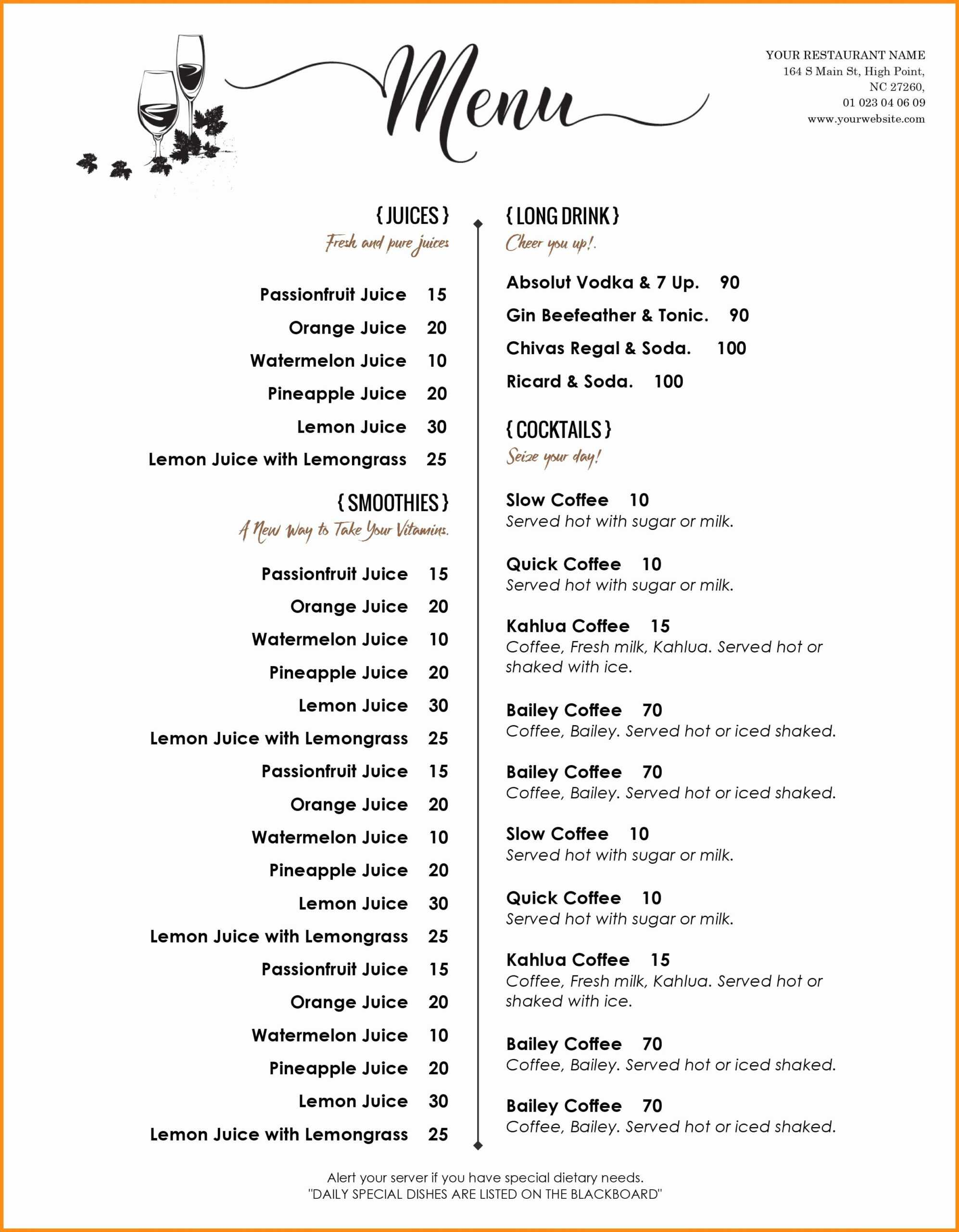 Menu Templates Word - Horizonconsulting.co Pertaining To Free Cafe Menu Templates For Word