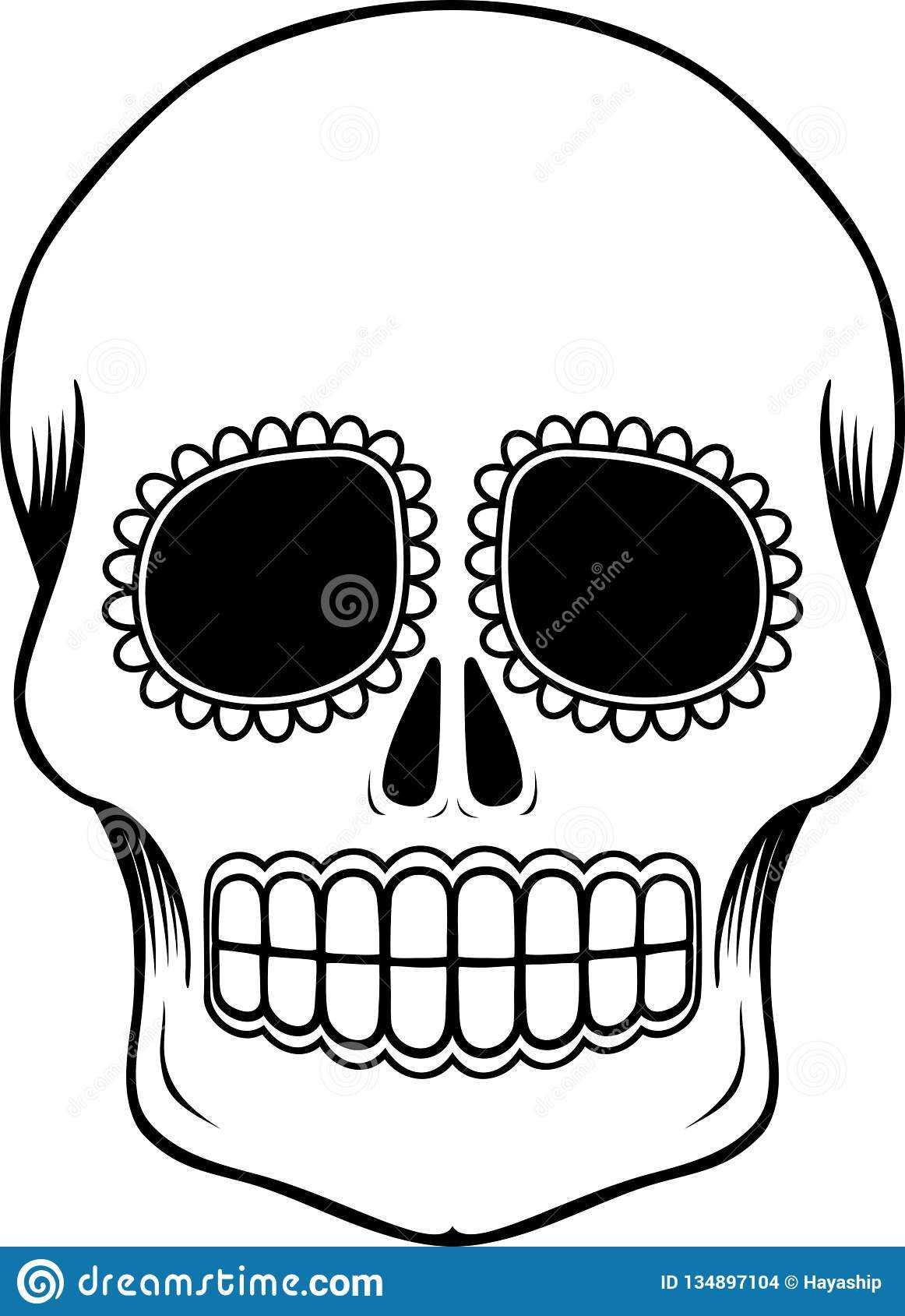Mexican Sugar Skull Template Stock Vector - Illustration Of With Regard To Blank Sugar Skull Template