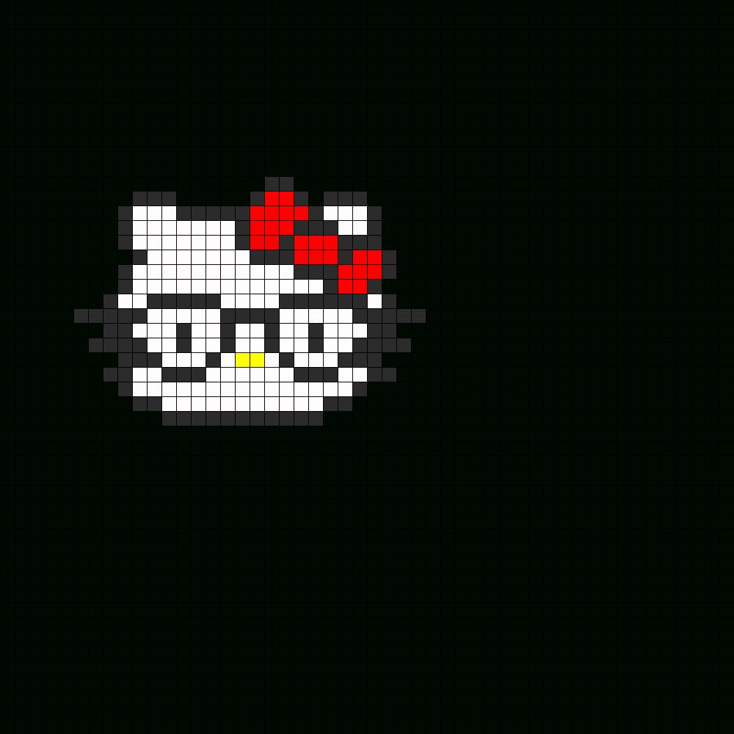 Nerdy Hello Kitty Fuse Bead Perler Bead Pattern | Bead Pertaining To Blank Perler Bead Template