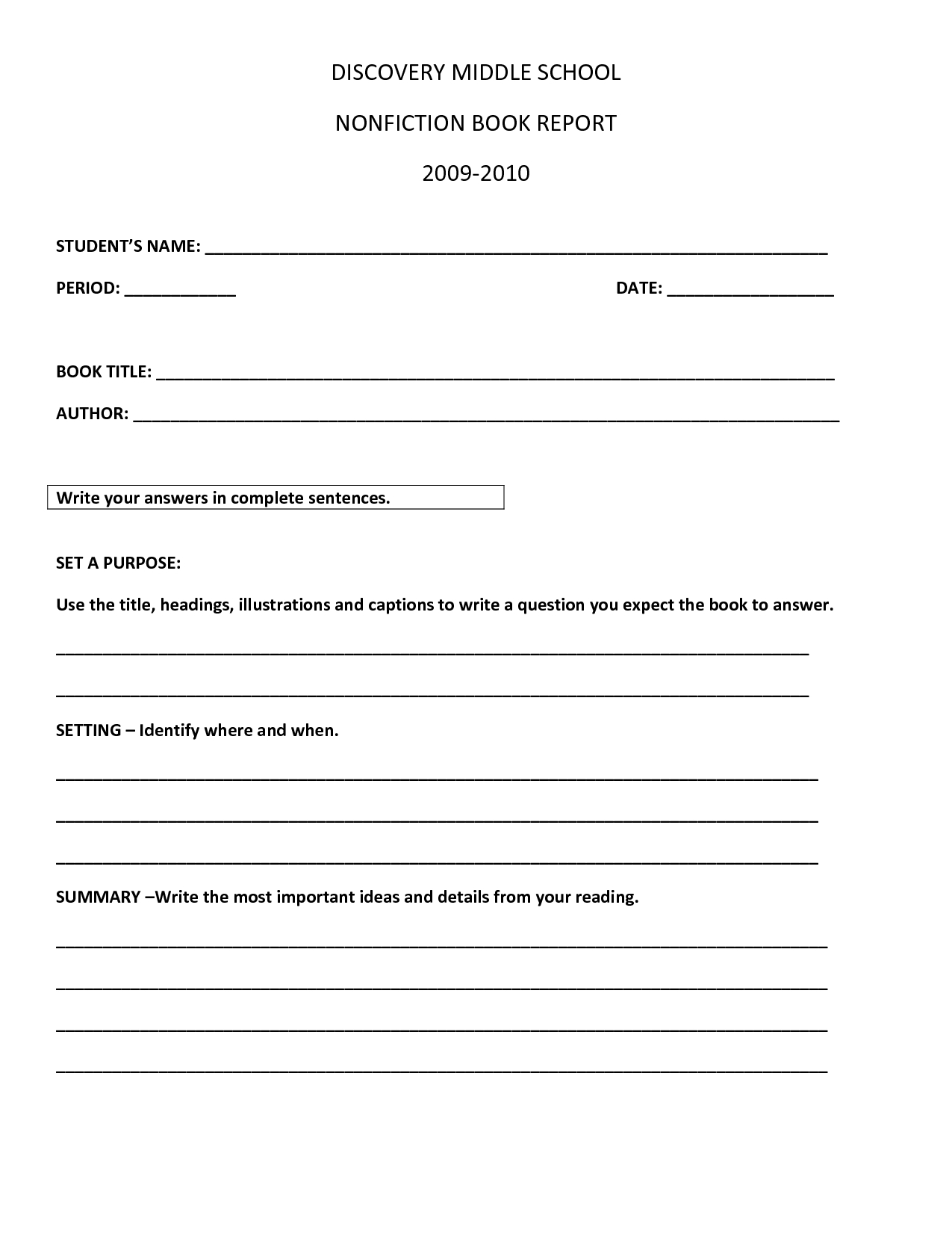 Non Fiction Book Report Template Middle School | How To Throughout Middle School Book Report Template