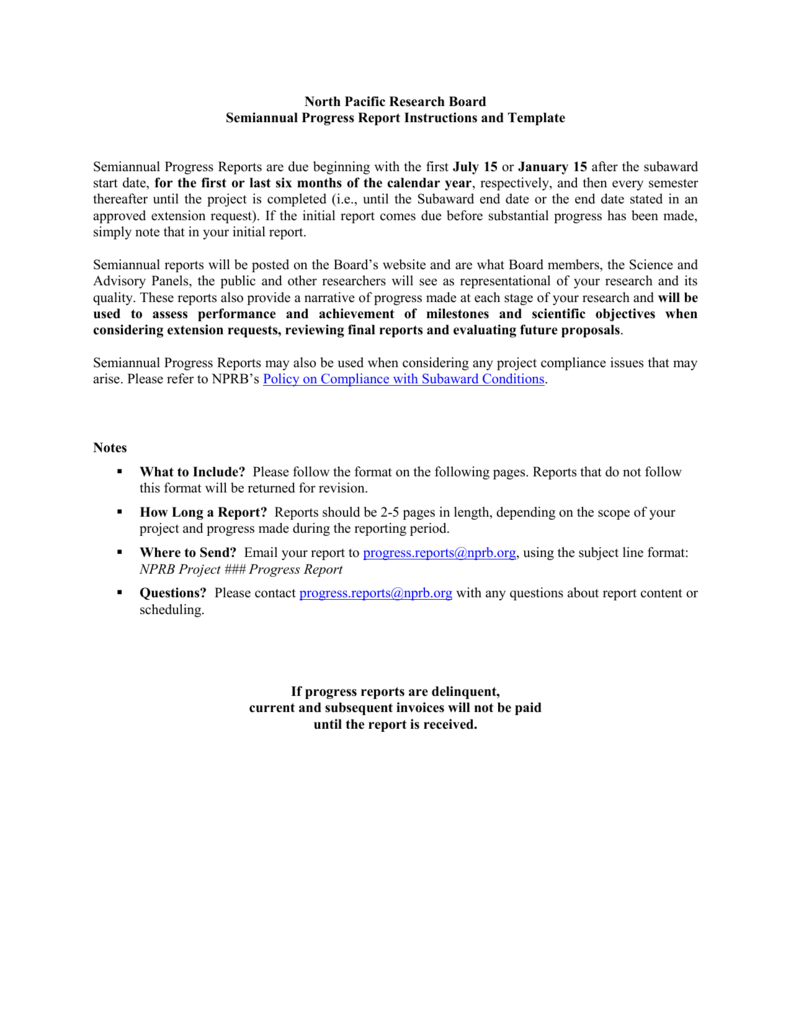 Nprb Progress Report Template – North Pacific Research Board With Research Project Report Template