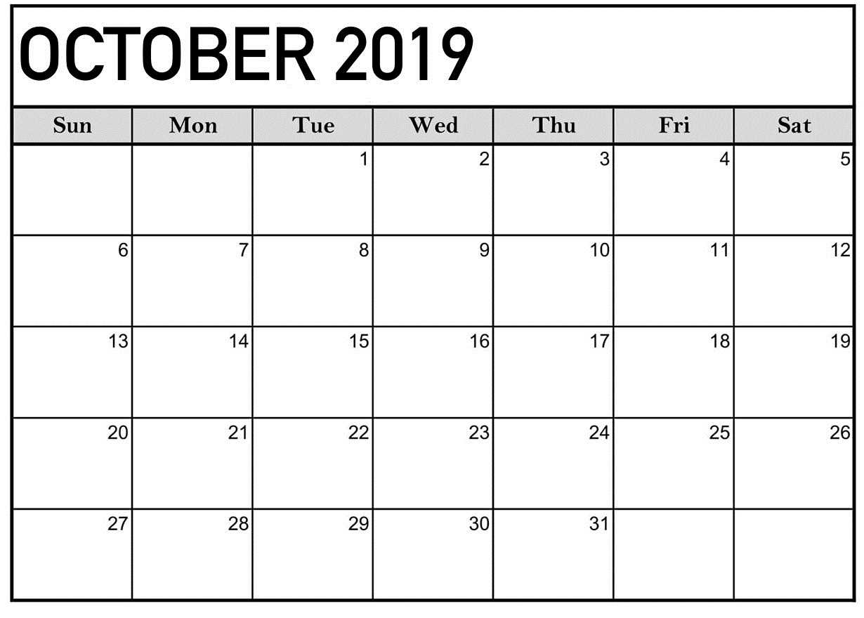 October 2019 Calendar Printable Word Template – Latest Throughout Blank Calender Template