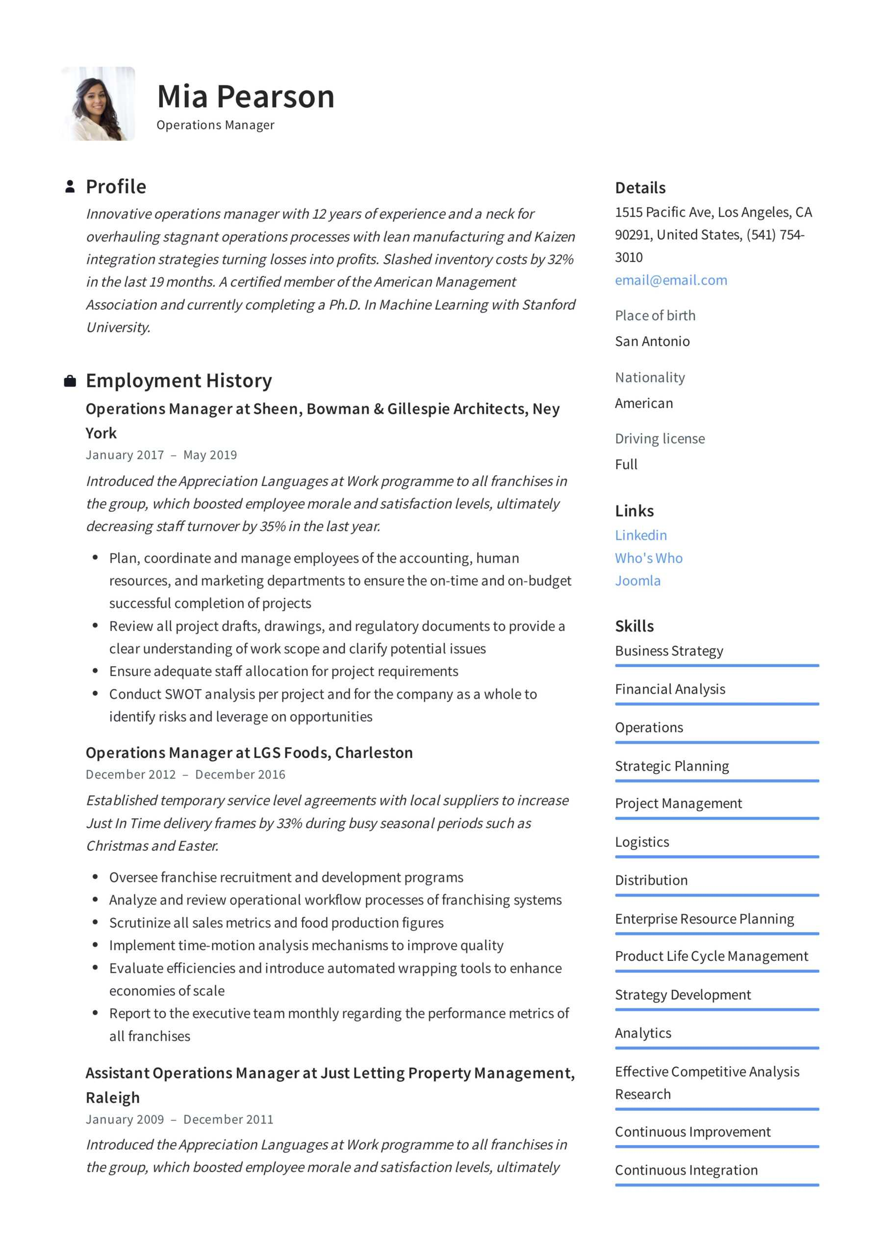 Operations Manager Resume & Writing Guide   +12 Examples   Pdf   Within Operations Manager Report Template