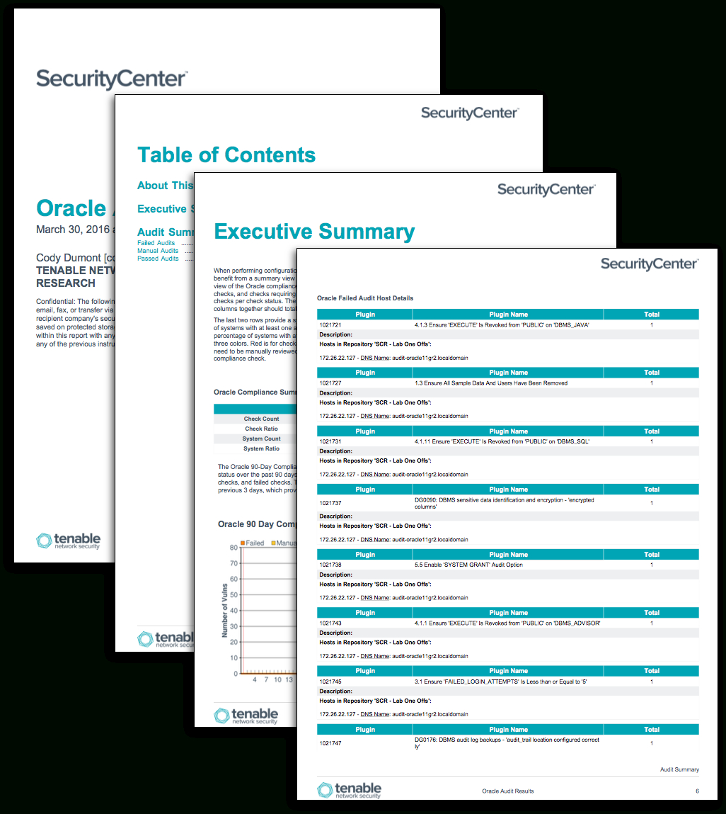 Oracle Audit Results – Sc Report Template   Tenable® For Nessus Report Templates