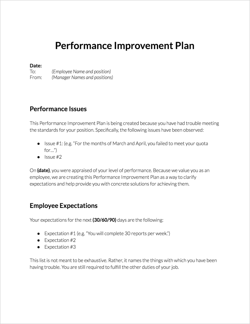 Performance Improvement Plan For Download | Clicktime Pertaining To Performance Improvement Plan Template Word