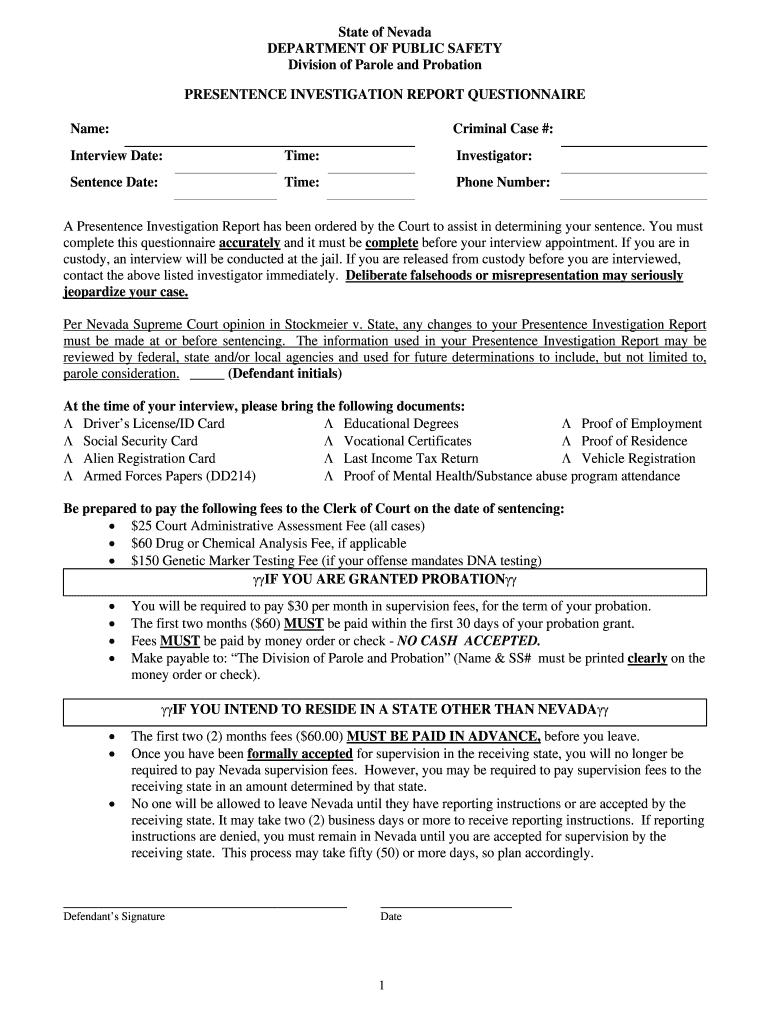 Presentence Investigation – Fill Online, Printable, Fillable Within Presentence Investigation Report Template