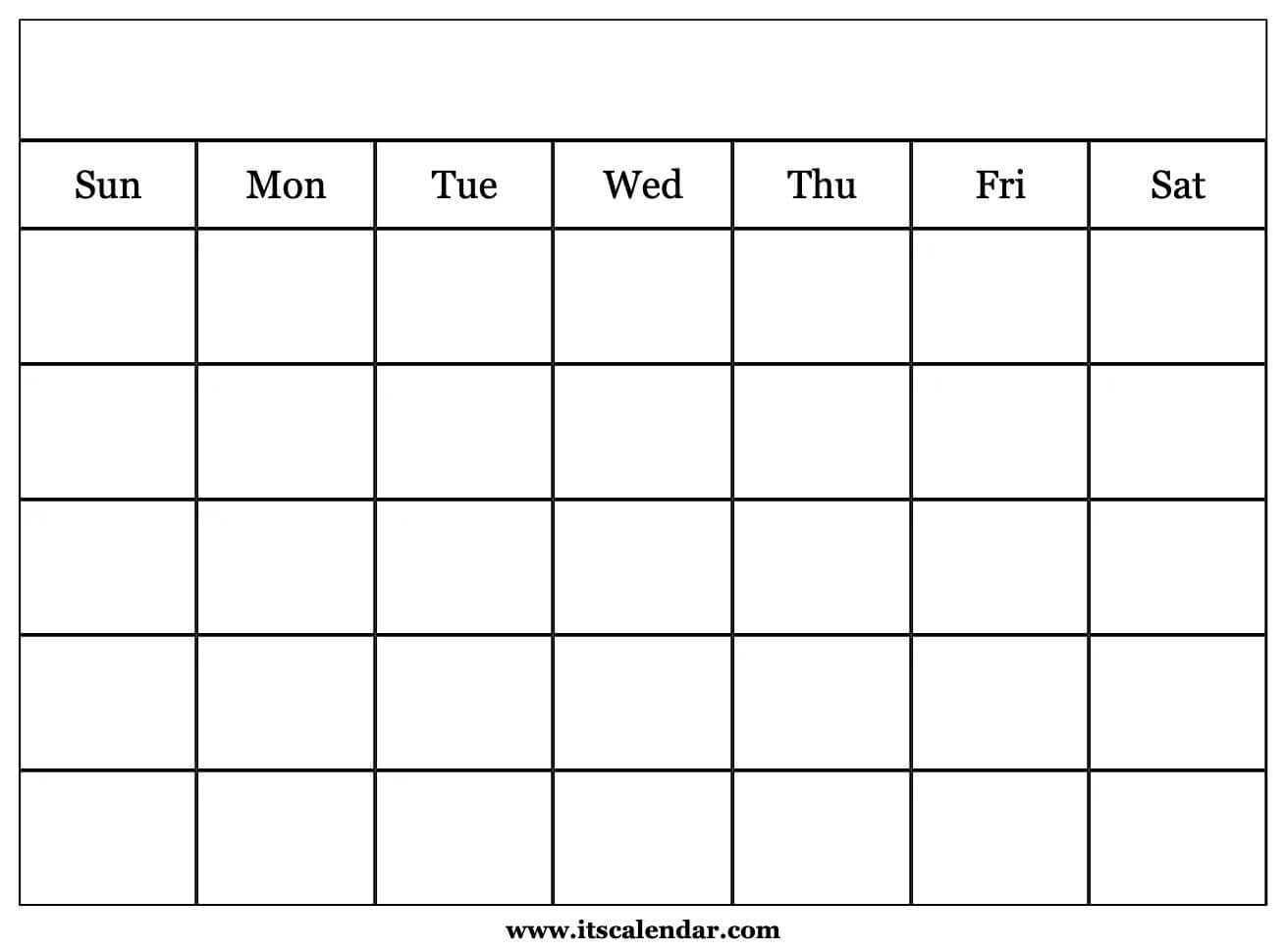 Printable Blank Calendar In Blank Calender Template