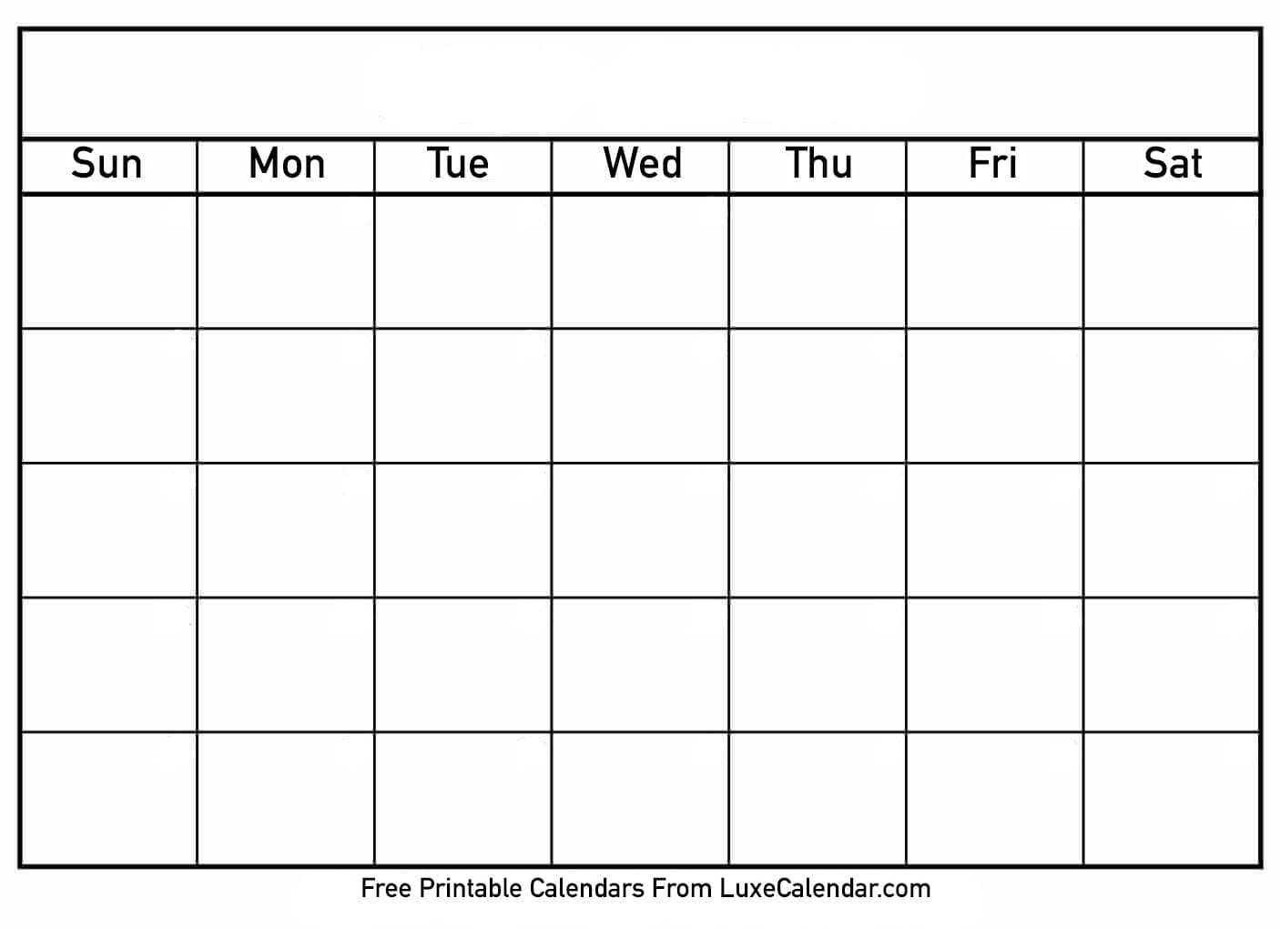 Printable Calendar Templates Full Page - Calendar Throughout Full Page Blank Calendar Template