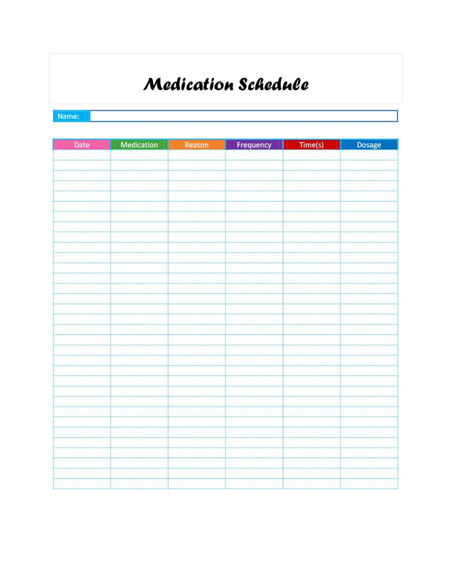 Printable Pill Chart – Togot.bietthunghiduong.co Pertaining To Blank Medication List Templates