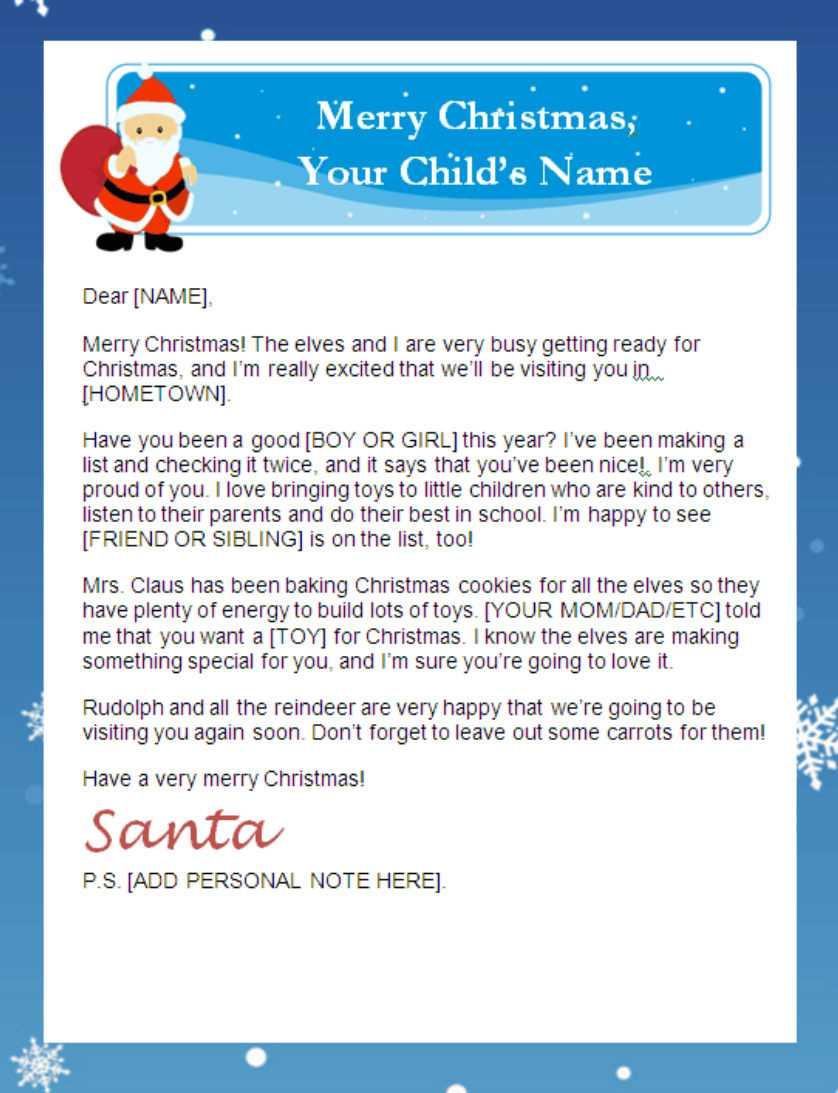 Printable Santa Letters | Inside Santa Letter Template Word