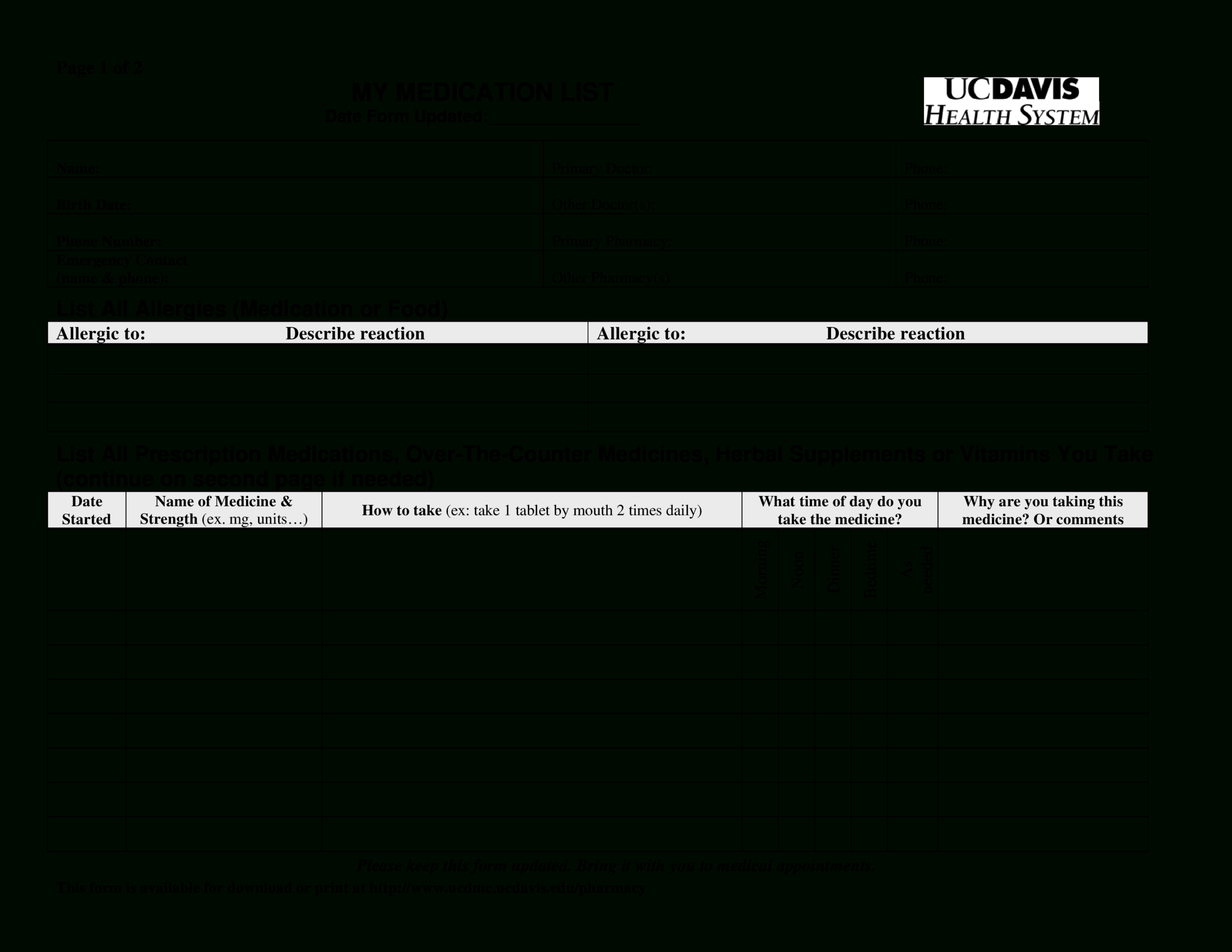 Printable Simple Medication List | Templates At Within Blank Medication List Templates