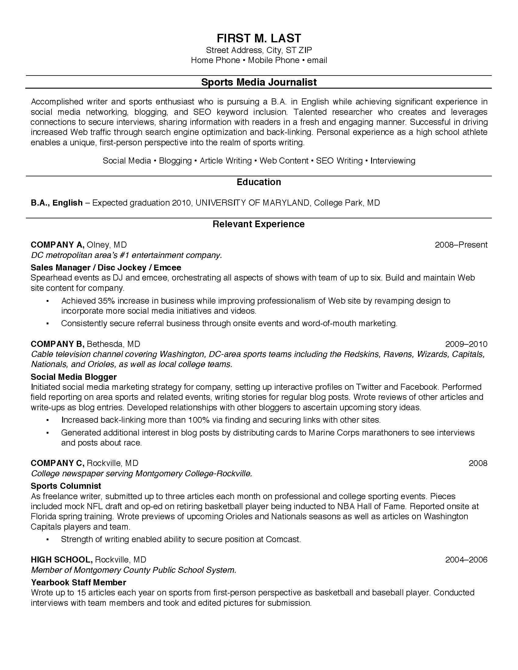 Professional Resume Examples For College Students Intended For College Student Resume Template Microsoft Word
