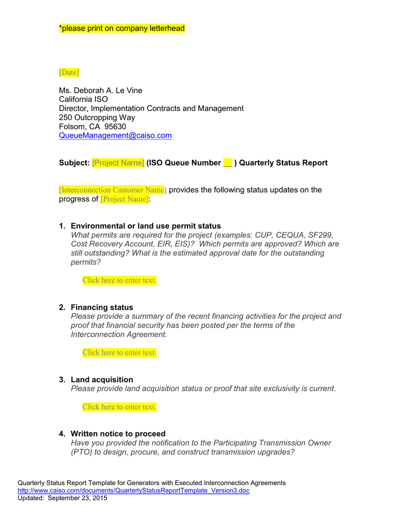 Queue Management Quarterly Status Report Template For It Management Report Template