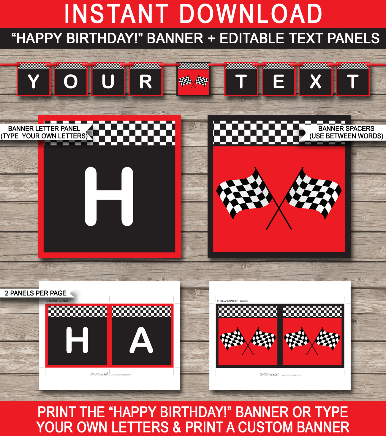 Race Car Party Banner Template – Red Throughout Cars Birthday Banner Template