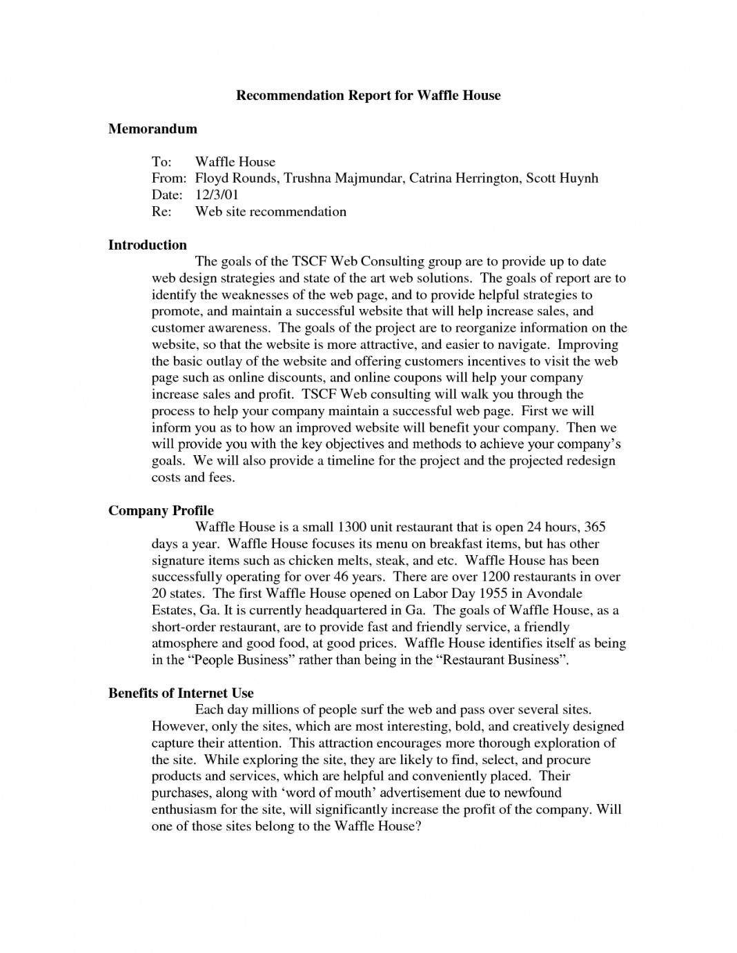 Recommendation Report Example Examples Internal Memo Sample In Recommendation Report Template