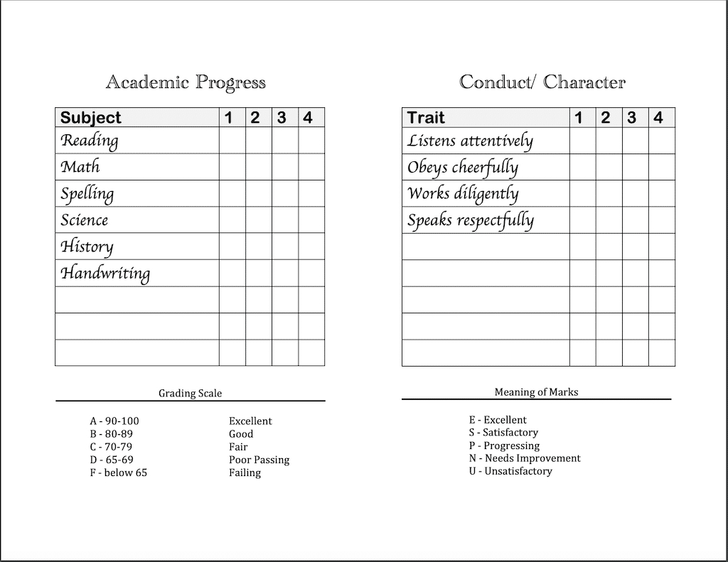 Report Card Template Convert Classic And List Free Editable With Regard To Homeschool Middle School Report Card Template