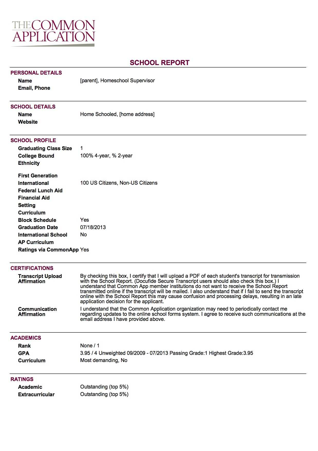 Sample School Report And Transcript (For Homeschoolers Within College Report Card Template