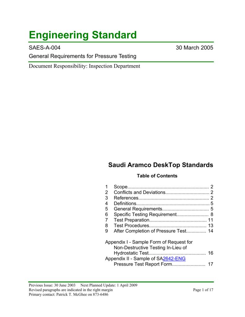Saudi Aramco Engineering Standard Throughout Hydrostatic Pressure Test Report Template