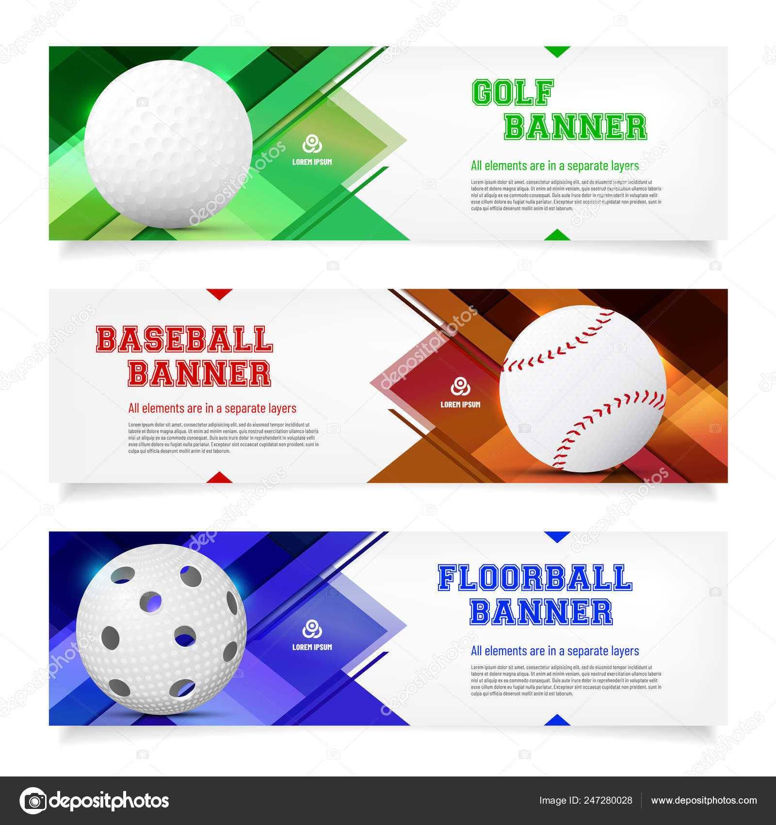 Set Sport Banner Templates Ball Sample Text Separate Layer Regarding Sports Banner Templates