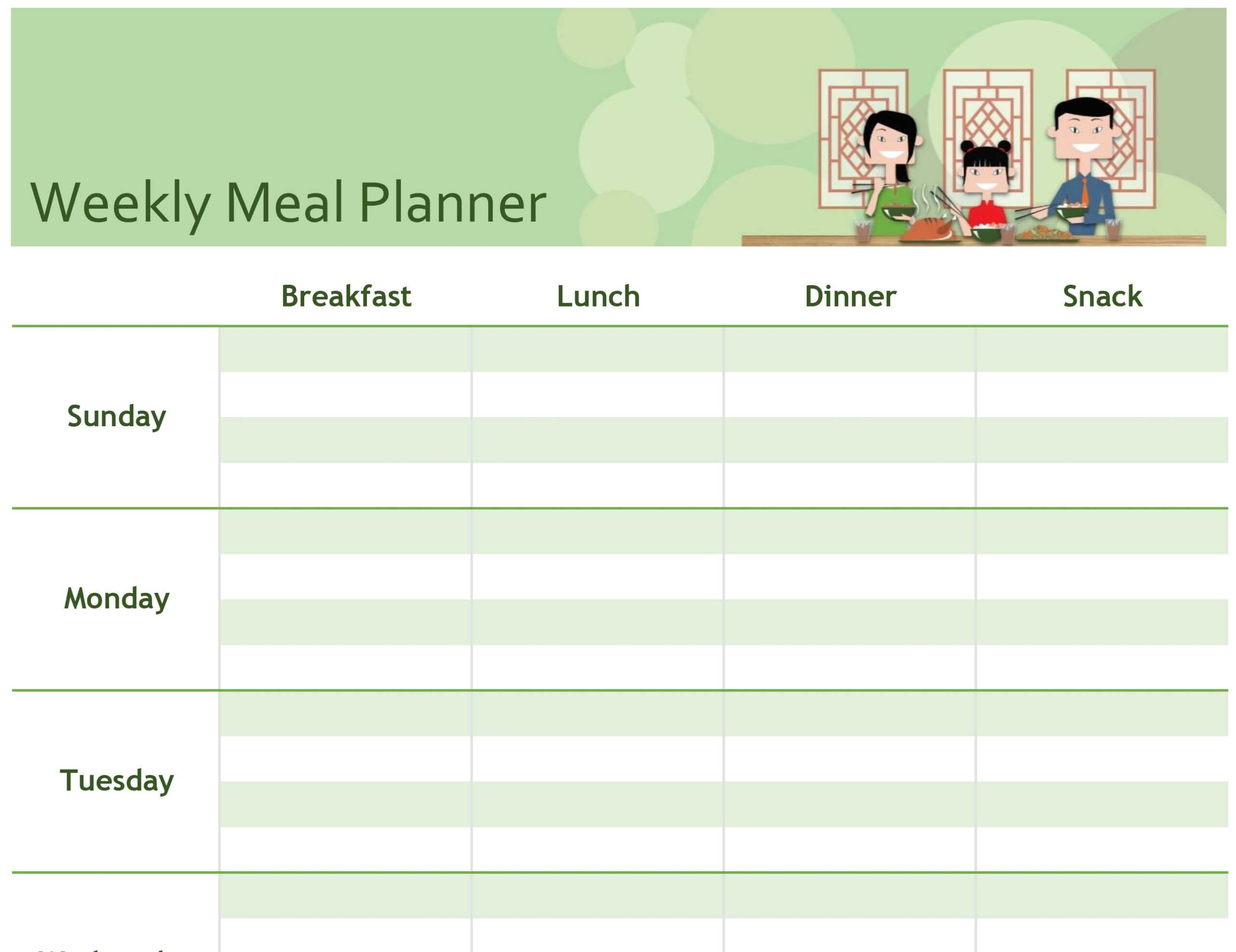 Simple Meal Planner Intended For Menu Planning Template Word