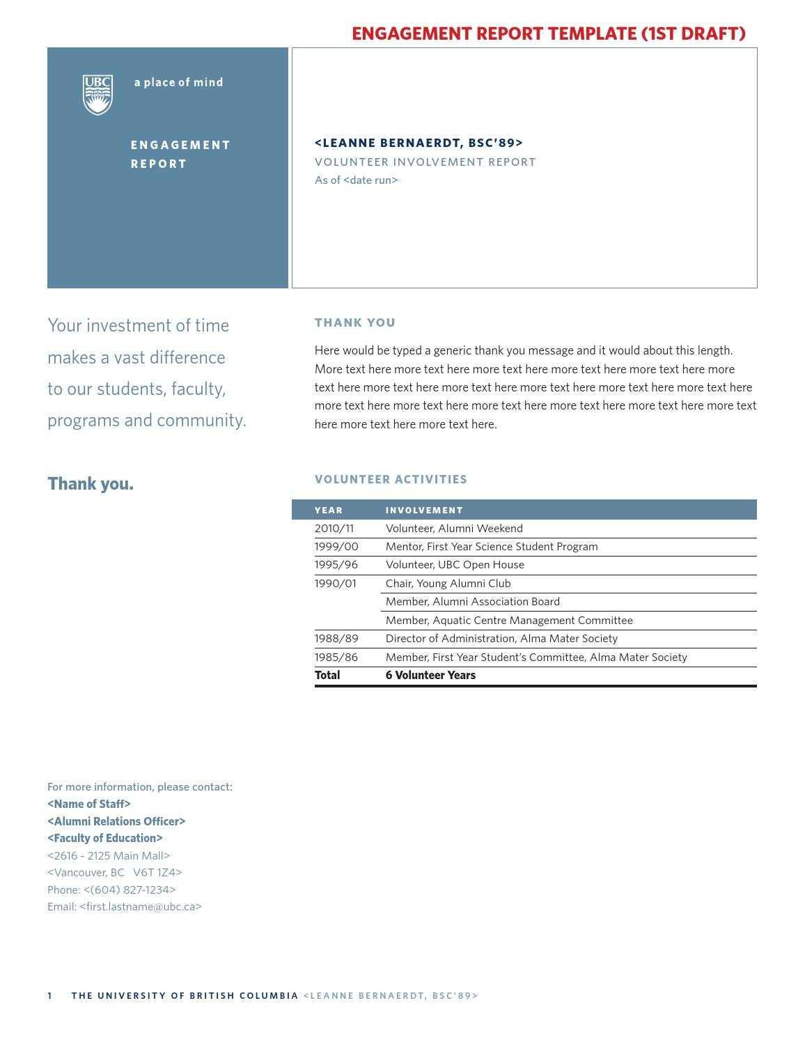 Template Volunteer Reportjeffrey Hsu - Issuu For Volunteer Report Template