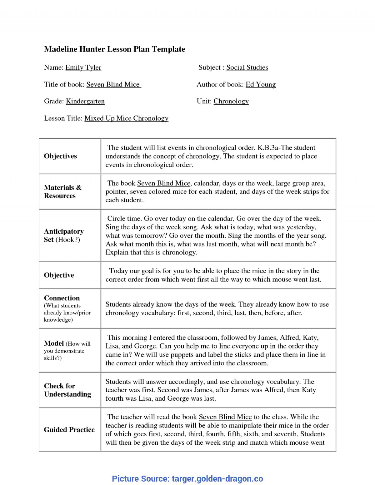 Top Madeline Hunter Lesson Plan Kindergarten Madeline Hunter Throughout Madeline Hunter Lesson Plan Blank Template